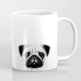 Black White Pug Pencil Sketch Coffee Mug