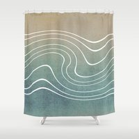 aelwen Shower Curtains featuring Wave by Aelwen