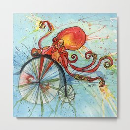 Octopus on a Bike Metal Print