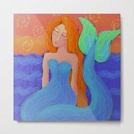 Sunset Mermaid Colorful Abstract Digital Painting  Metal Print
