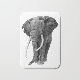 Bull elephant - Drawing in pencil Bath Mat