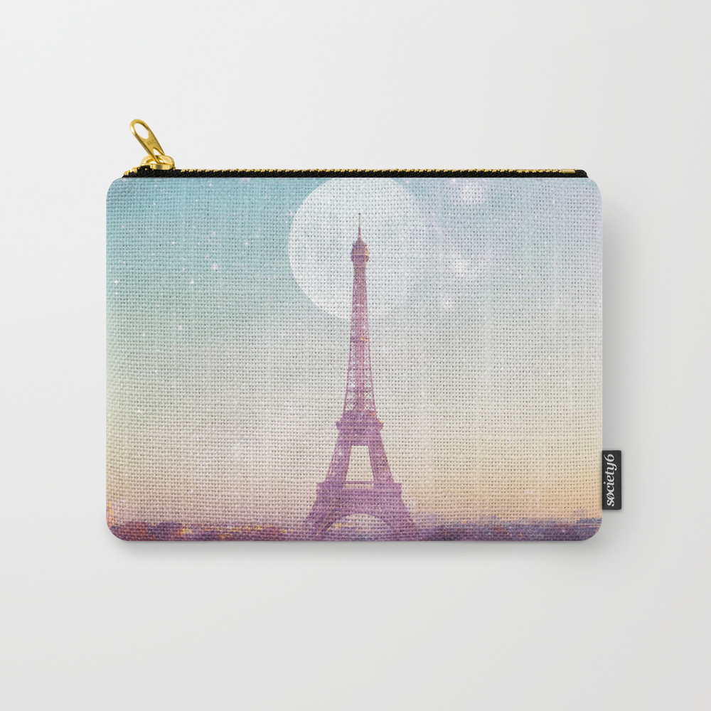 I Love Pink Paris Eiffel Tower - Full Moon Univers… Carry-all Pouch by Deificusart CAP6926601
