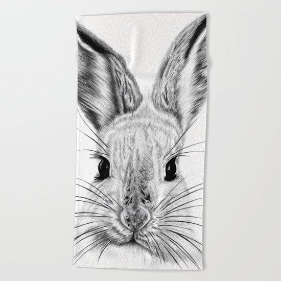 Black and White Bunny Beach Towel
