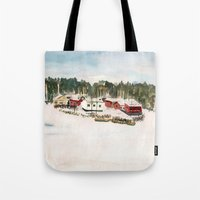 finland Tote Bags featuring Finland village by Nadezhda Shoshina