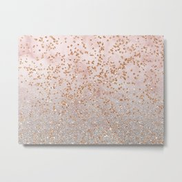 Mixed glitters on pink marble Metal Print