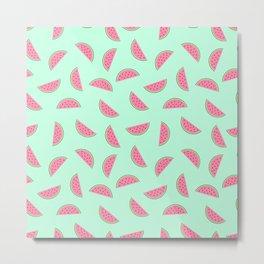 Seamless Watermelon Pattern Metal Print
