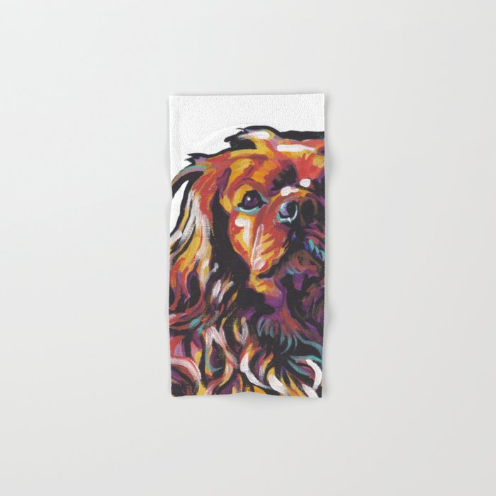 Ruby Cavalier King Charles Spaniel Dog Portrait Pop Art painting by Lea Hand & Bath Towel
