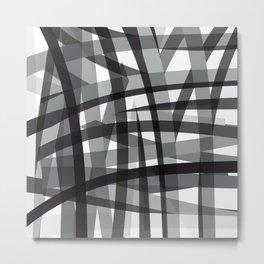 grey crossed stripes Metal Print