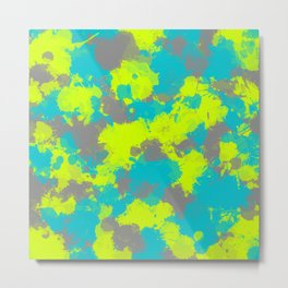 Turquoise Voltage Paint Splatter Metal Print