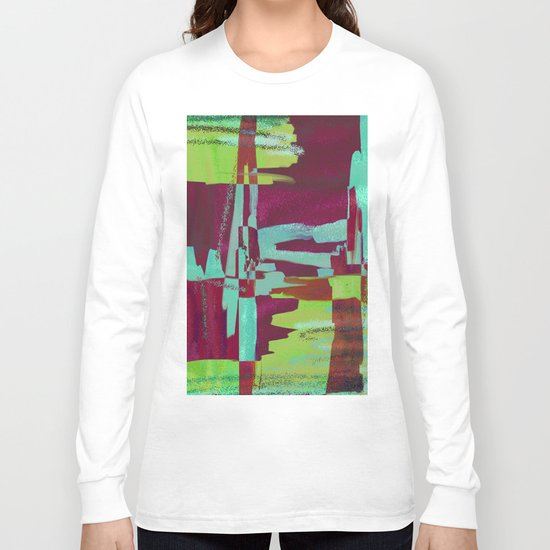 Raspberry Jam - Textured, abstract, raspberry, cyan and green painting Long Sleeve T-shirt