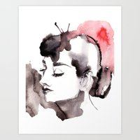 audrey Art Prints featuring Audrey by Michelle Pegrume