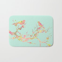 Love Birds on Branch Vintage Floral Shabby Chic Pink Yellow Mint Bath Mat