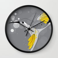 hummingbird Wall Clocks featuring Hummingbird by Steph Dillon