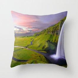 Seljalandsfoss a Waterfall in Iceland. Throw Pillow