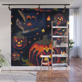 Spooky Night of Ghost and Jackolanterns by Lorloves Design Wall Mural