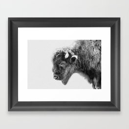 Animal Photography | Bison Portrait | Black and White | Minimalism Framed Art Print