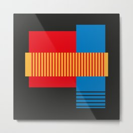 Vintage 60's Geometric Shapes and Stripes Abstract Metal Print
