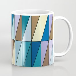 Modern Geometric Triangles, Blue and Coffee Brown Coffee Mug