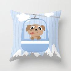 Mobil series cable car dog Throw Pillow