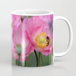 Pink Poppy Flowers With Honeybees Coffee Mug
