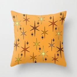 Mid Century Modern Star Sky Orange Throw Pillow