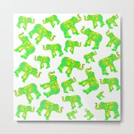 Green Elephants Metal Print