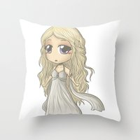 mother of dragons Throw Pillows featuring Mother of Dragons by AlyTheKitten
