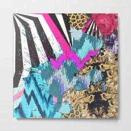 Fashion | Chic aztec pink teal zebra stripes leopard pattern Metal Print
