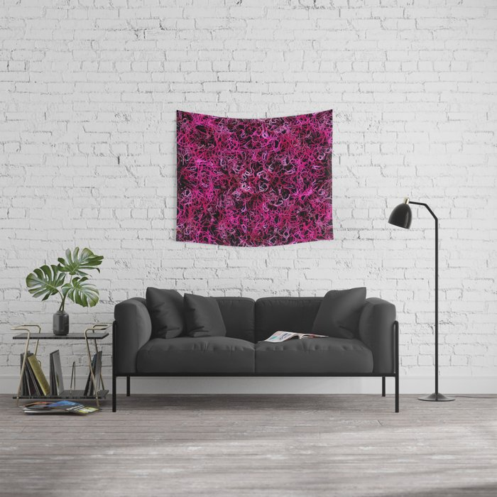 Hot Pink and Black Electric Lines Wall Tapestry
