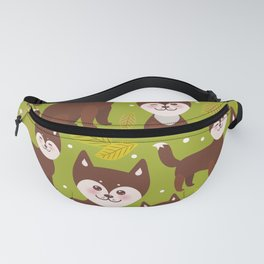 seamless pattern funny brown husky dog and leaves, Kawaii face with large eyes and pink cheeks Fanny Pack