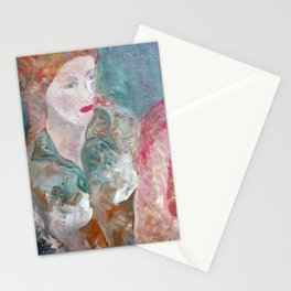 Woman in green Stationery Cards