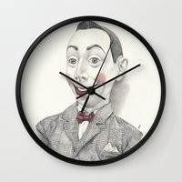 """pee wee Wall Clocks featuring """"Portrait of Pee-wee Herman"""" by Edward Cao"""