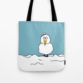 Eglantine la poule (the hen) dressed up as a snowman Tote Bag