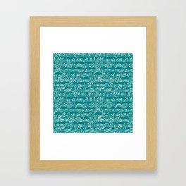 Hand Written Sheet Music // Teal Framed Art Print