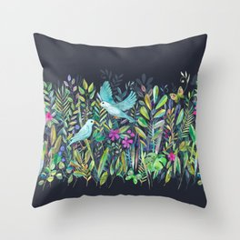 Little Garden Birds in Watercolor Throw Pillow