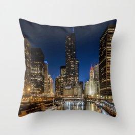 Chicago River scene at dusk Throw Pillow