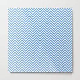 Blue Chevron Metal Print