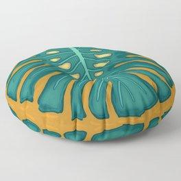 Monstera Flying to Autumn 2 Floor Pillow