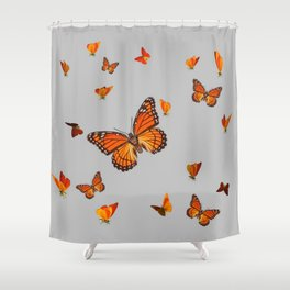 FLOCK OF ORANGE MONARCH BUTTERFLIES ART Shower Curtain