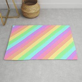 Pastel Rainbow Diagonal Stripes Rug