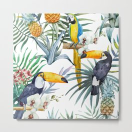 Big Tropical Pattern Toucans Parrot Pineapples Metal Print