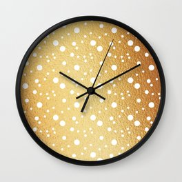 White Polka dots on Gold Background Wall Clock