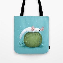 Axolotl on a Mossball Tote Bag
