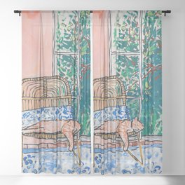 Napping Ginger Cat in Pink Jungle Garden Room Sheer Curtain
