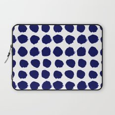 Aria - indigo brushstroke dot polka dot minimal abstract painting pattern painterly blue and white  Laptop Sleeve