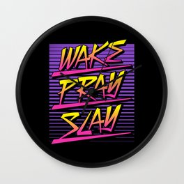 Wake Pray Slay (Sunset Retro) Wall Clock