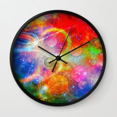 Altered Orbs in Space Wall Clock