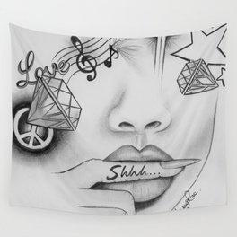Rihanna - Shine bright like a diamond 'Shhh..' lips - Ashley Rose Wall Tapestry
