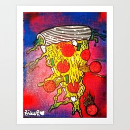 Crazed Pizza Art Print