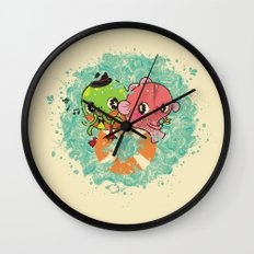 The Pond Lovers - Mr. Froggy and Ms Goldfish Wall Clock